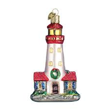 world lighthouse glass blown ornament