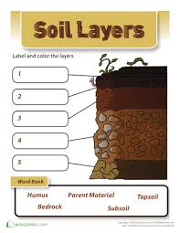 layers of soil worksheets to study and grade 3
