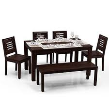 Dining Table Ls Arabia Capra 4 Seater Bench Dining Table Set Mahogany Finish