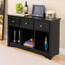 good black console table with 3 drawers and 3 storage space