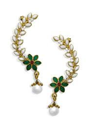 ear cuffs online buy white kundan ear cuffs ear cuff online shopping ermlt2040