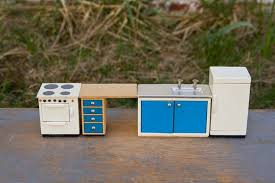 Dollhouse Kitchen Sink by Wooden Kitchen Sink With Cabinet Counter Oven Refrigerator