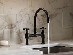 kitchen bridge faucets parq deck mount bridge kitchen sink faucet k 6130 3 kohler
