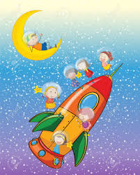 illustration of a kids on a rocket in the sky royalty free