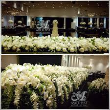 Cascading Orchids Bridal Table Arrangement Amethyst Wedding