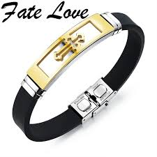 stainless steel bracelet bangle images Us 10 24 fate love silicone stainless steel cross bracelet jpg