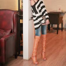 s boots knee high brown high heel the knee brown winter boots can be worn 2 ways 2