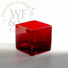 Square Vase Wholesale Square Glass Cube Vase In Red 5x5 Wholesale Flowers And Supplies
