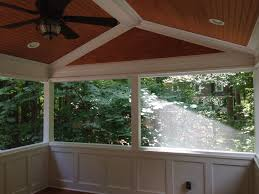 Screened In Porch Decor Screen Porch With Wainscoting Knee Walls Custom Tongue And Groove