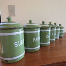 enamel kitchen canisters a complete set of 6 vintage french kitchen enamel nesting canisters