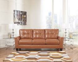 contemporary leather sofa orange sam levitz furniture