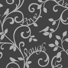 fine decor live love laugh scroll wallpaper black silver fd40287