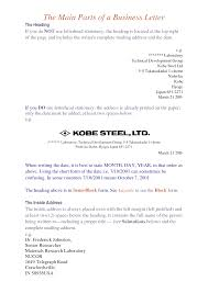 A Business Letter Sample by 7 Parts Of A Business Letter Gallery Examples Writing Letter