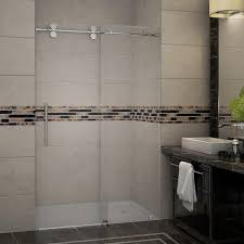 48 Shower Doors Aston Langham 48 In X 75 In Completely Frameless Sliding Shower