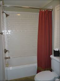 red brown free standing bath shower curtain aside two piece flush