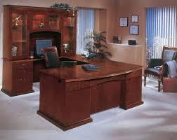 u shaped glass desk classy brown varnished teak wood executive desk which furnished