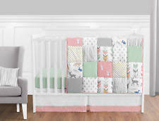 All White Crib Bedding Coral Mint And Grey Woodsy Deer Baby Bedding 11pc Crib Set