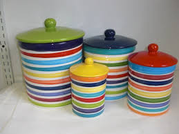 set of 4 rainbow and white bright stripes ceramic kitchen