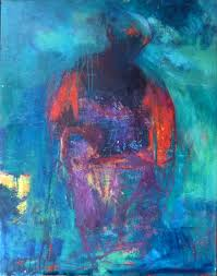 paintings abstract expressionism people in blue dark blue red