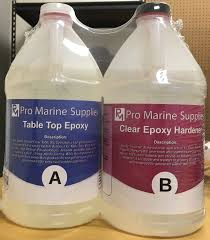 pro marine supplies table top epoxy epoxy resin crystal clear 1 gallon kit for super gloss coating and