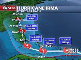 a projection of the path hurricane irma will take as of 5 a m on
