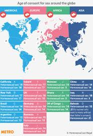 Image Of World Map Shocking Map Shows How Age Of Sexual Consent Varies Around The