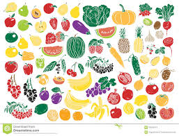 vegetables and fruits color stock vector image 58563974