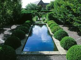 garden backyard design with pool landscaping and gravels also
