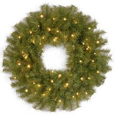24 pre lit norwood fir wreath concaved led cordless