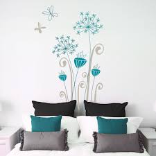 garamba exotic flowers wall decal grey teal details wall decal