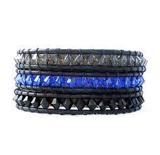 leather bracelet swarovski images Blue black swarovski leather wrap bracelet onsra designer bracelets jpg