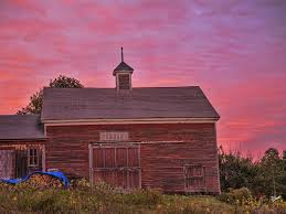 red barn at sunset down east