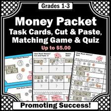 counting money task cards dollars and coins worksheets 2nd grade