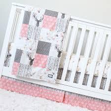 Crib Baby Bedding Crib Bedding Coral Taupe Woodlands Baby Bedding Deer