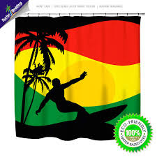 Surfer Shower Curtain Surfer Mon Reggae And Rasta Flavored Surfer Bedding