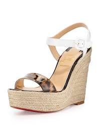 christian louboutin spachia leopard red sole espadrille in natural