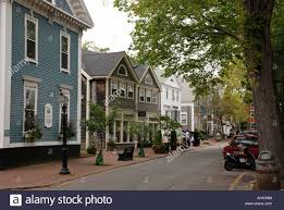 nantucket island typical row of houses massachusetts united states