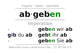 si e de table imperative abgeben deliver concede concern all tables
