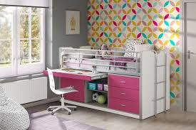 B O Schreibtisch Buche Hochbett Bonny Liegefläche 90 X 200 Cm Weiß Fuchsia Kinder
