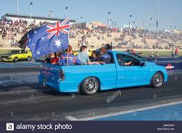 Custom Car Flag Australian Ford Utility On Parade At An Australian Car Show With