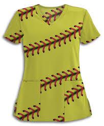 softball stitches scrub top