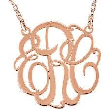 large monogram necklace large 40 mm 3 letter script monogram necklace