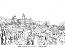 old city view medieval european castle stock vector 289130225