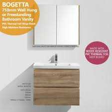 Free Standing Bathroom Vanity by Bogetta 750mm White Oak Pvc Thermal Foil Wall Hung Freestanding