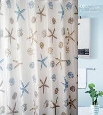 wholesale waterproof peva starfish shower curtain bathroom