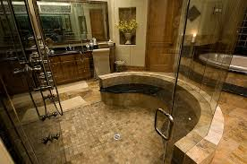rustic master bathroom with frameless showerdoor by mike and