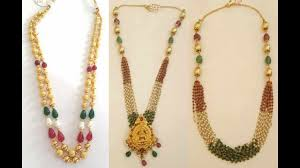 beads gold necklace images Latest beads necklace designs in gold south indian jewellery jpg