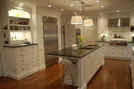 Traditional White Kitchens - traditional white kitchen design with brown floor 3864
