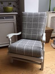 finished chair painted in rustoleum antique grey cushions