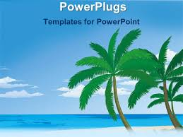 powerpoint template depiction of palm trees on a beach with blue